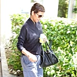 Halle Berry covered her baby bump in a loose-fitting top.