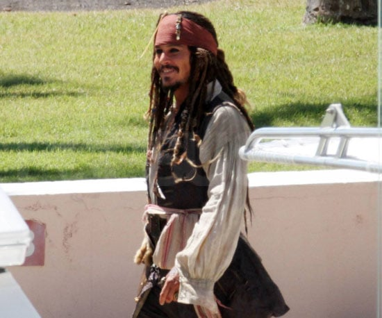 Slide Picture of Johnny Depp in Puerto Rico Filming Pirates of the Caribbean 4