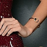 Blake accessorized sparingly with a Gucci Horsebit bracelet to finish her sparkly ensemble.