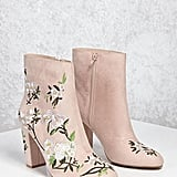 Forever 21 Faux Suede Embroidered Boots