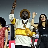Pictured: Lauren Ridloff, Brian Tyree Henry, and Salma Hayek at San Diego Comic-Con.