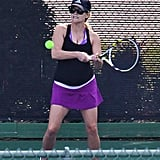Reese Witherspoon hit some tennis balls.