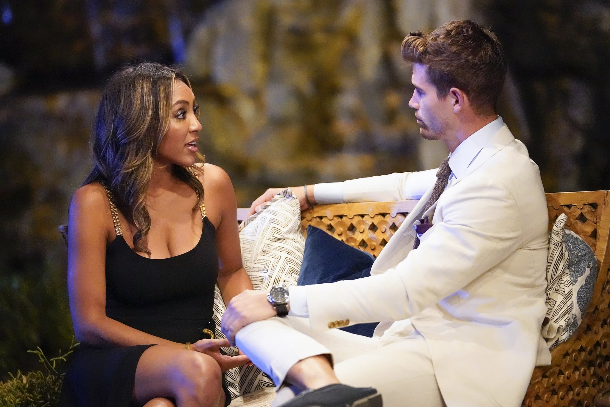 THE BACHELORETTE - 1606  Its game on! when Ashley I. and Jared pay a special visit to Tayshia, running and judging a competition to test the strength and maturity of eight of her suitors. Who will win the coveted title, and who will struggle to the finish line? Dramatic faceoffs between the men prove a distraction, but the Bachelorette manages to squeeze in some romance. Refusing to give up, two hotheaded rivals try to pull Tayshia into the fray right before the rose ceremony. A group of the guys will be coached by former four-time Womens Champion and WWE Hall of Famer Amy Dumas and current undefeated UFC fighter Tatiana Suarez through wrestling drills to prepare for a big match in front of the men not on the date. Fan-favorite Wells Adams calls the wild action with Chris Harrison. Who will fight for Tayshias heart and emerge victoriously? Finally, one smooth move will cement a bachelors status as public enemy number one with the other jealous men on The Bachelorette, TUESDAY, NOV. 17 (8:00-10:01 p.m. EST), on ABC (ABC/Craig Sjodin)TAYSHIA ADAMS, CHASEN