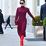 Victoria mixed red and burgundy for a sleek and sophisticated outfit.