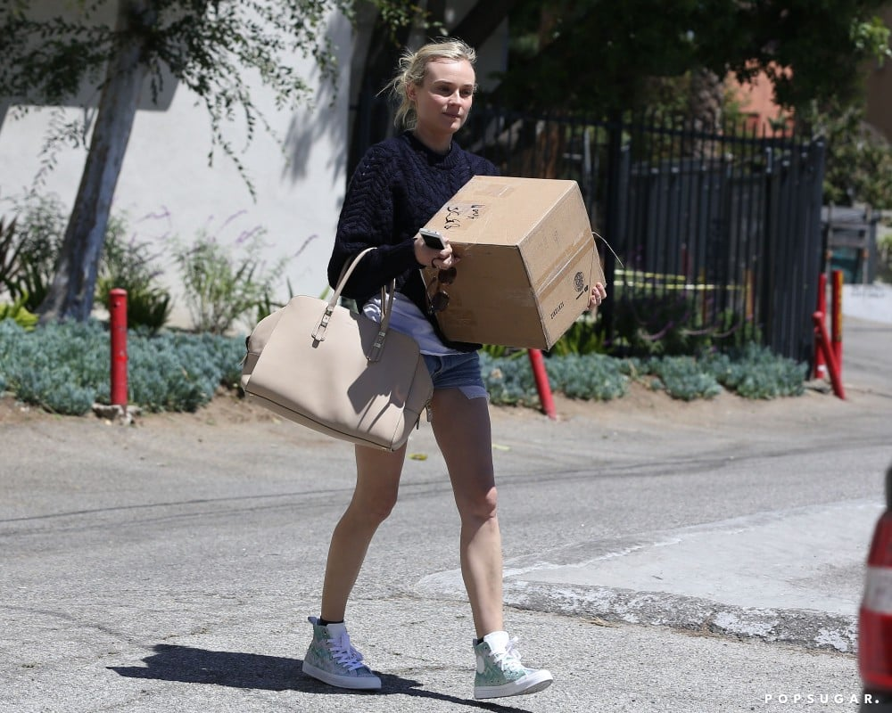 Diane Kruger carried a box.