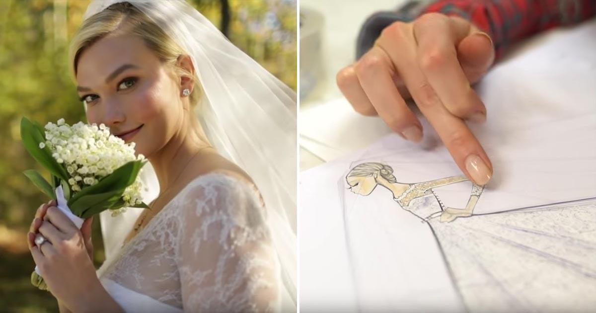 Watch How Karlie Kloss S Dior Wedding Dress Was Designed Popsugar Fashion