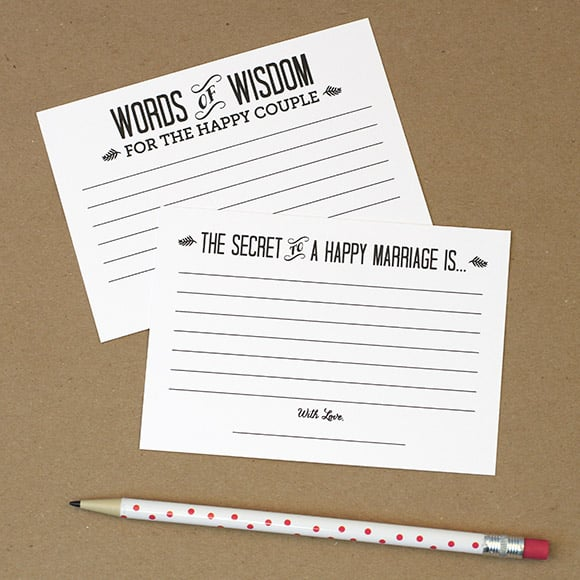 Words of Wisdom Cards | Free Wedding Guest-Book Printables ...