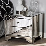 Baxton Studio Farrah 2-Drawer Silver Metallic Nightstand
