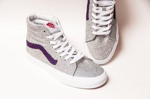 Silver Glitter SK8 Hi Top Vans Sneakers