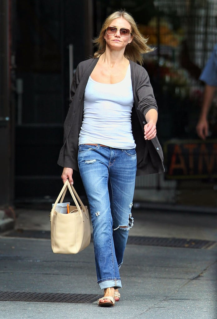 """Cameron Diaz took a walk in NYC's West Village yesterday, stopping by a local nail salon for a manicure. It's been two weeks since Alex Rodriguez confirmed his breakup from Cameron, and it doesn't seem like she's staying away from his Big Apple home base. In fact, Alex is also in the city at the moment —on Thursday, he joined pal Jay-Z at a benefit for the rapper's Shawn Carter Foundation. Cameron wasn't present at the bash, but she and Alex are still on good terms. Describing their breakup to the press, Alex said, """"I have a lot of love for Cameron. We'll always be friends."""""""