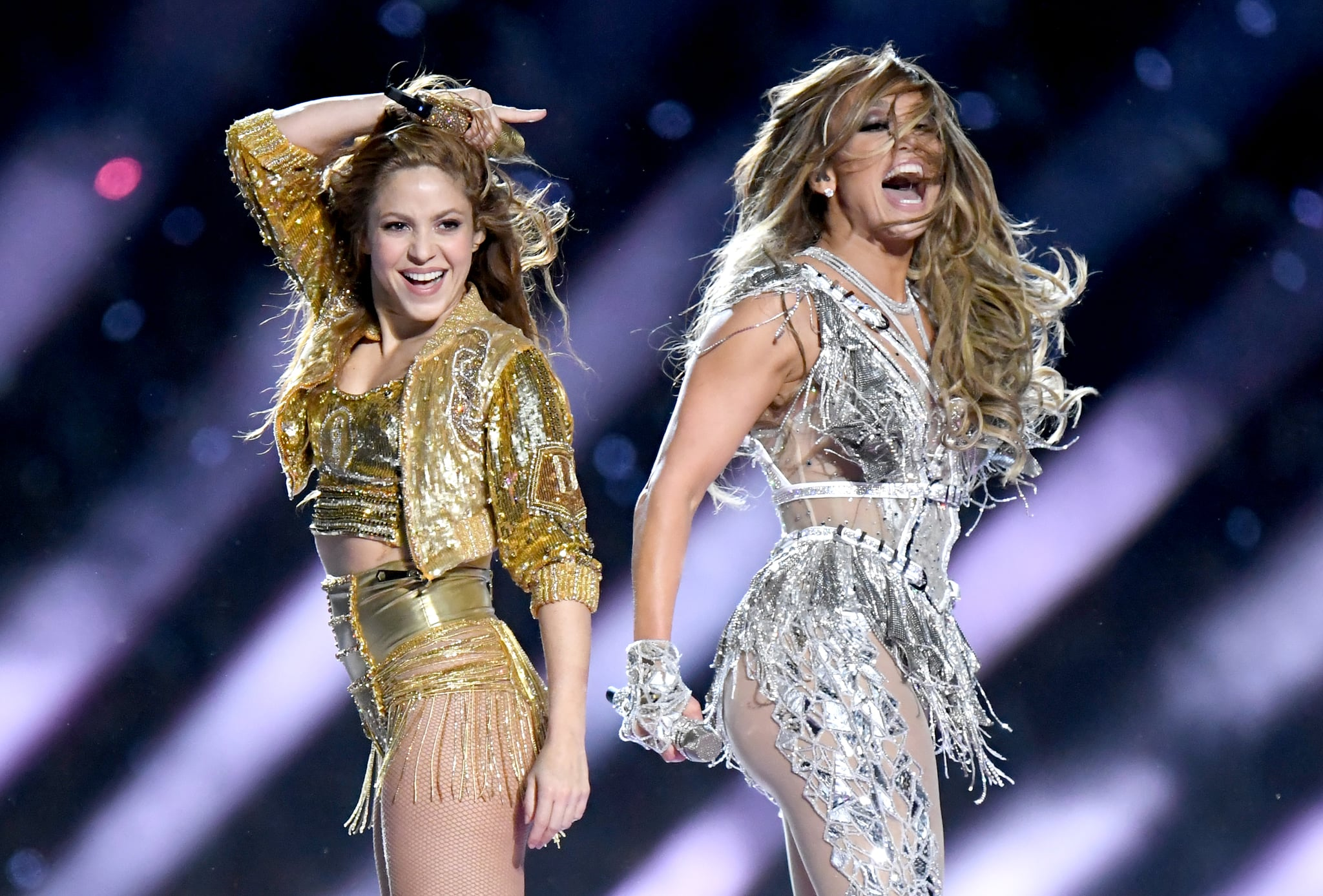 MIAMI, FLORIDA - FEBRUARY 02: Shakira and Jennifer Lopez performs onstage during the Pepsi Super Bowl LIV Halftime Show at Hard Rock Stadium on February 02, 2020 in Miami, Florida. (Photo by Jeff Kravitz/FilmMagic)