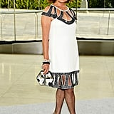 Diane von Furstenberg was a vision in an embellished white dress with just-sexy-enough cutouts. Bow sandals by Christian Louboutin added an adorable touch.