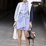Paola Alberdi with a Loewe bag at New York Fashion Week