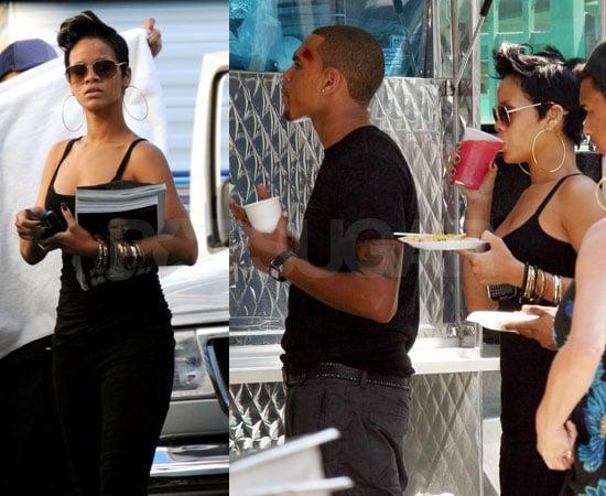 Photos of Rihanna Visiting Chris Brown on the Set of Bone Deep