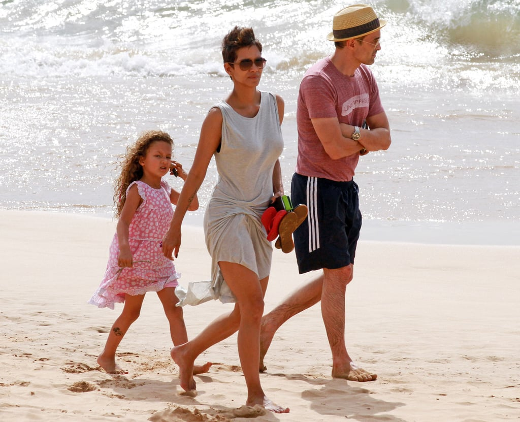 Halle Berry, Olivier Martinez, and Nahla Aubry hit the beach in Hawaii together.