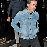 David Beckham stepped out of a pub in London with friends.