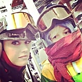 The vocalist and Kingston posed for a selfie during a trip to the snow earlier this year.
