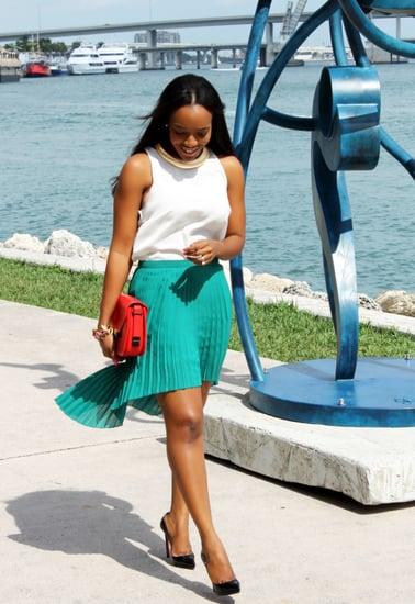 Pleated Hi-Lo Skirt