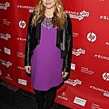 Kristen Bell turned out a bright fuchsia number, along with an equally eye-catching statement necklace and Isabella Oliver leather jacket, at The Lifeguard premiere.