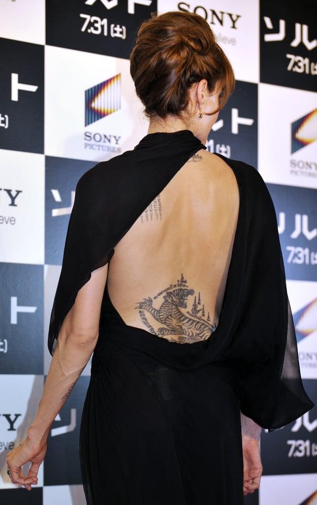 Tiger On Her Lower Back Angelina Jolie S Tattoos Popsugar