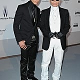 Karl Lagerfeld and his muse Baptiste Giabiconi both looking dapper.