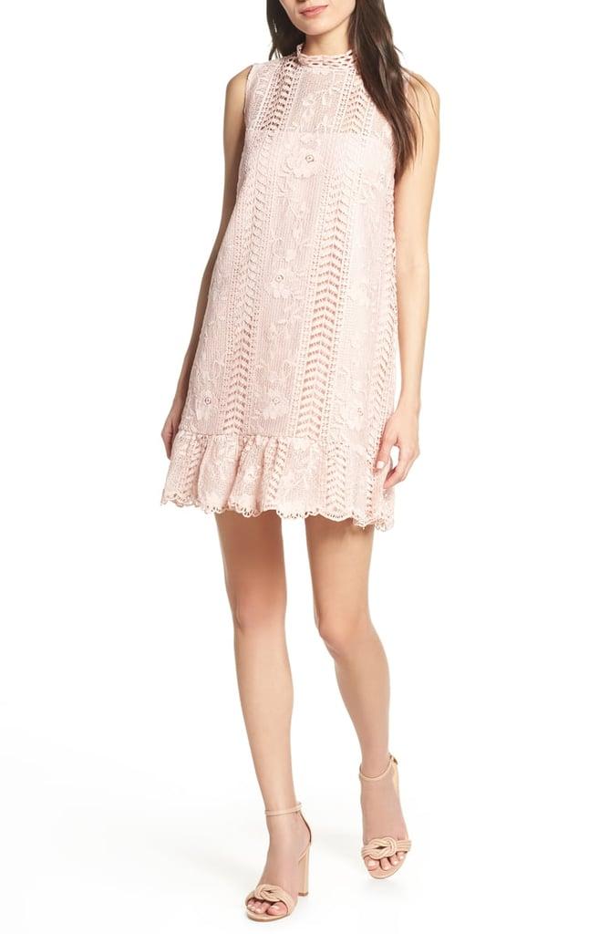 18ad32619a3 BB Dakota Sheri Mock Neck Sleeveless Lace Mini Shift Dress