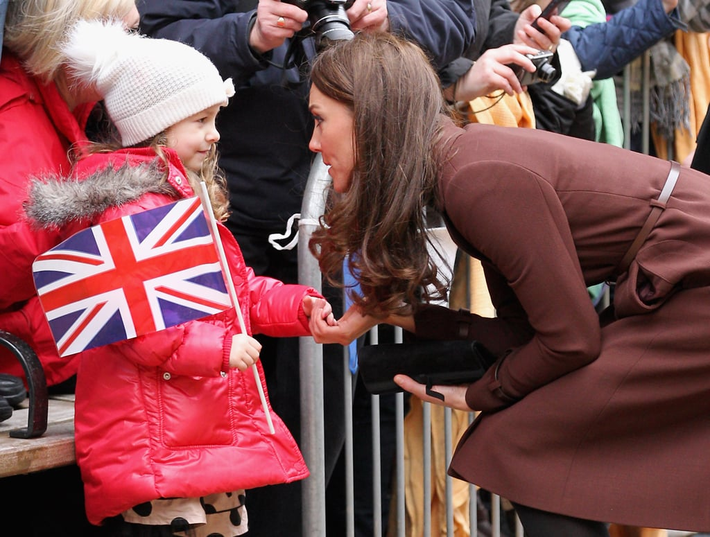 Kate Middleton said hello to a young fan.
