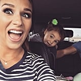 """Vivi photo bomb! Yes the car was in park and we were getting out :)."""