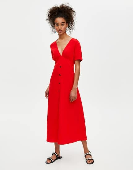 Pull & Bear Red Buttoned Midi Dress