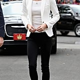 Kate wrapped the royal tour in Canada wearing a handful of your favorite brands. She paired her white Zara blazer and jeans with a ribbed off-the-shoulder top from H&M and slipped into tweed J.Crew loafers.