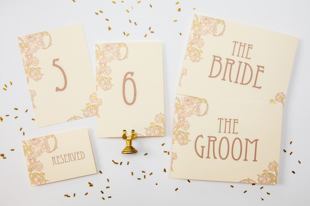 Nouveau Peonies Table Numbers