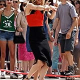 Vanessa Paradis showed off her dance moves on the set of Homo Sapiennes in Paris on Wednesday.