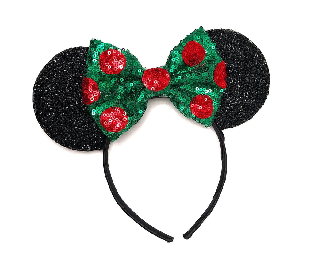christmas polka dot minnie ears in black - Disney Christmas Ears
