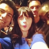 Zooey Deschanel goofed around on set with her New Girl costars. Source: Instagram user zooeydeschanel