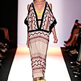BCBG's exotic, looser silhouettes still showed some sex appeal with deep necklines and cutouts.
