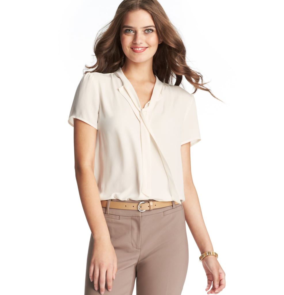 Loft's silky smooth tie-neck top ($45) adds a polished finish to all your trousers and skirts.