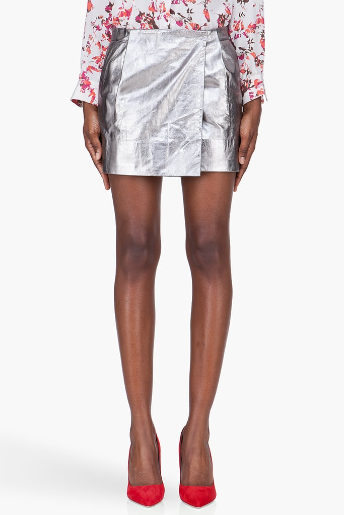 We love the idea of pairing this Diane von Furstenberg Silver Leather Melissa Miniskirt ($340, originally $485) with a slouchy knit top and colorful pumps for a party-appropriate look.