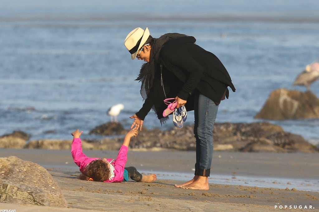 Halle Berry and Nahla Stroll and Twirl in the Sand