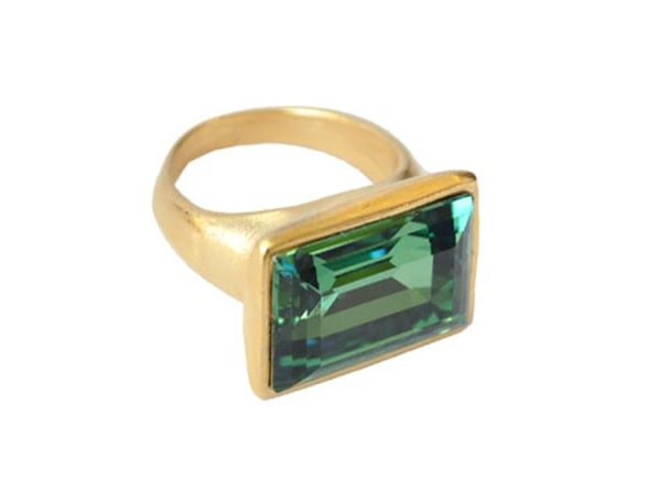 As far as statement rings go, this Diana Warner emerald cocktail ring ($115) is a serious party-going essential.