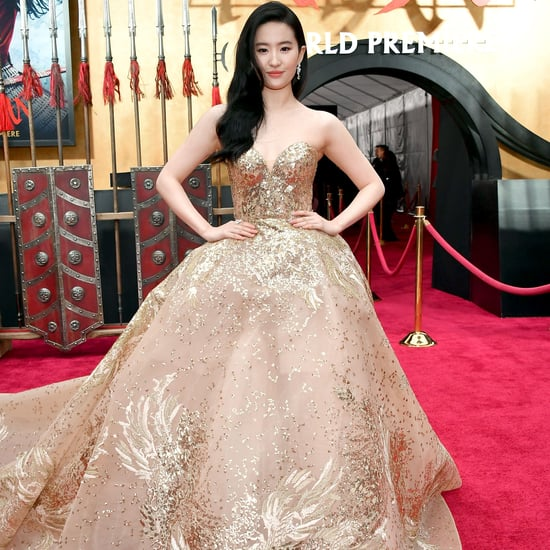 Yifei Liu Wearing Gold Elie Saab Gown at Mulan Premiere