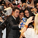 Zac Efron cozied up to his fans at The Lucky One premiere in Melbourne.
