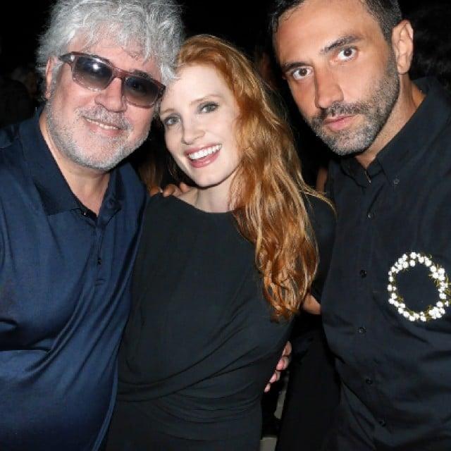 Pedro Almodovar, Jessica Chastain, and Riccardo Tisci
