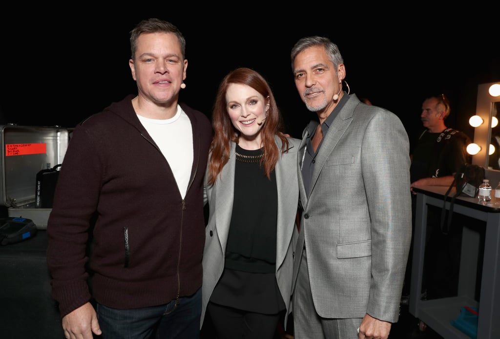 "George Clooney popped up at CinemaCon in Las Vegas on Tuesday to promote his upcoming film, Suburbicon. The actor — who is expecting twins with wife Amal — looked dashing in a gray suit and appeared to be in a good mood as he spoke on stage with costars Matt Damon and Julianne Moore and mingled with Dwayne Johnson. In addition to promoting the movie, George gave an update on Amal's pregnancy, telling Extra, ""She is doing really great. She is amazing. I don't have anything to do. There is nothing I can do to help, but make tea and stuff."" The babies will be the first children for both Amal and George, and the actor is ready for them to arrive. ""I know swaddling. I know what I'm in for,"" he said. He also joked that diapers will be an important part of life ""for me, not for the kids.""  Julianne, who has been a friend of George's for years, also thinks he is ready to be a dad. ""I think it is great. I think he is going to be a natural. I'm not worried about him at all,"" she said. The only thing George should be worried about? Deciding on names for the twins, since Amal wasn't thrilled with his first idea. ""My wife says I can't name them Casa and Amigos,"" he joked with Entertainment Tonight. ""That's the one thing I'm not allowed to do."" This is of course in reference to the tequila company the 55-year-old actor co-owns with business partner Rande Gerber, called Casamigos. We wonder how Amal feels about the name Suburbicon . . ."