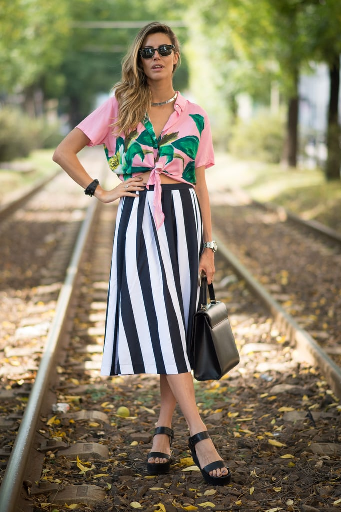 A full skirt and a clashing blouse