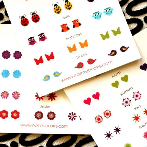 Poppy Drops Temporary Tattoo Earrings For Little Girls