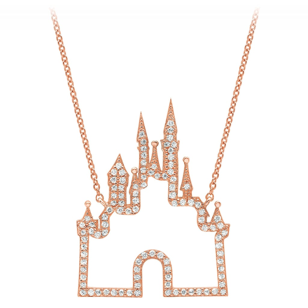 Disney Rose Gold Castle Necklace