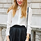 """Short, sweet, and pleated at London Spring 2012 Fashion Week.  Shop the look: <iframe src=""""http://widget.shopstyle.com/widget?pid=uid5121-1693761-41&look=4085048&width=3&height=3&layouttype=0&border=0&footer=0"""" frameborder=""""0"""" height=""""244"""" scrolling=""""no"""" width=""""286""""></iframe> Photo Courtesy of Stylesight"""