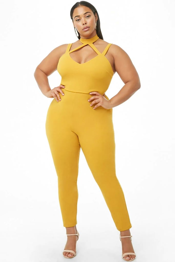 Forever 21 Strappy Mock Neck Jumpsuit Beyoncé Yellow Versace