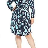 Nic+Zoe Vivid Giraffe Print Long Sleeve Shirtdress