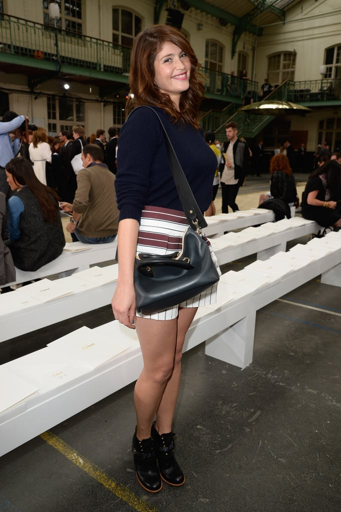 Gemma Arterton showed off her playful side in striped shorts and booties at Chloé.